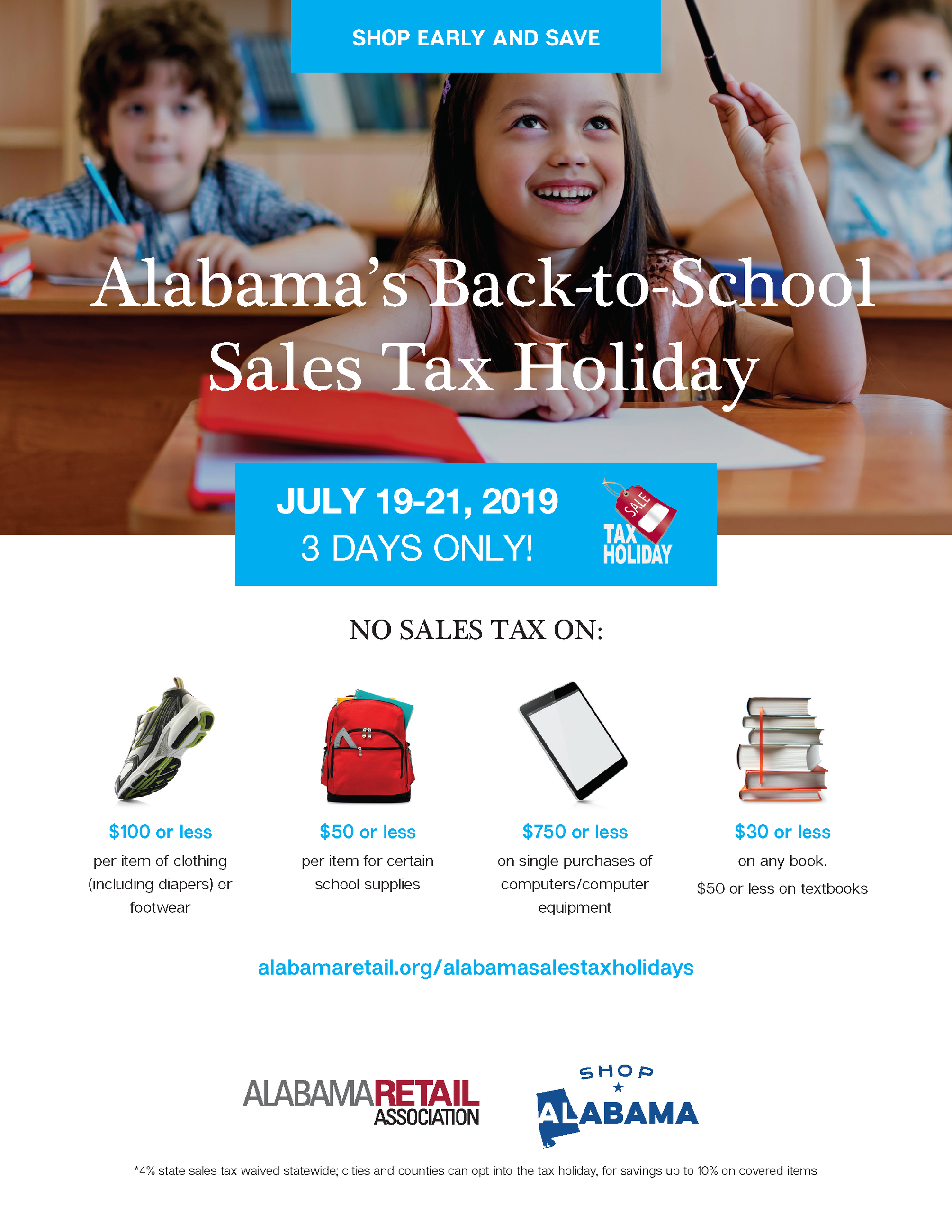 Sales Tax Holiday 2019 - Back to School July 19-21