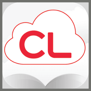 Cloud Library logo features red letters CL on a white cloud