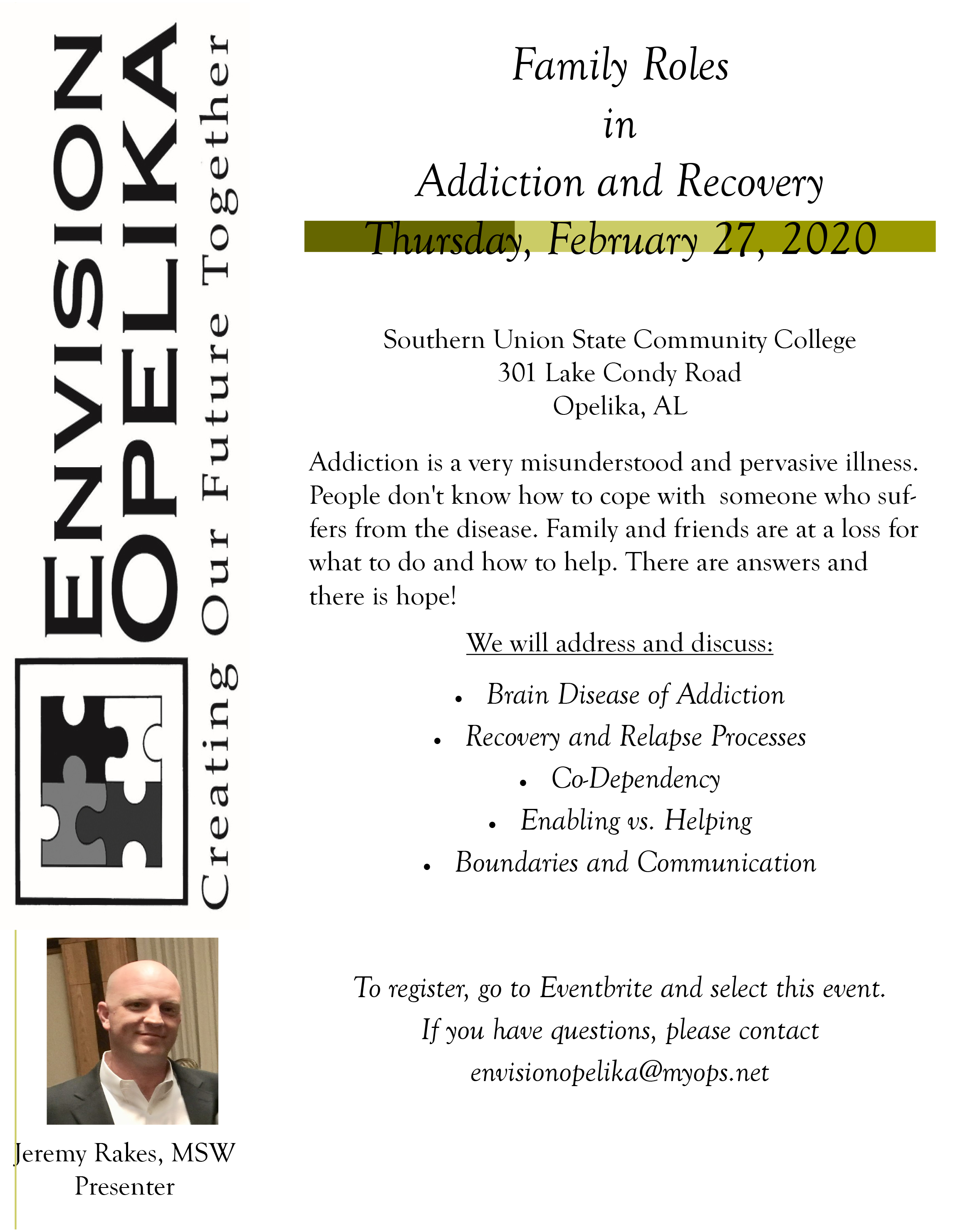 Family Roles in Addiction and Recovery- Feb 27