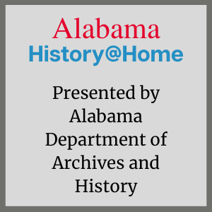 Image of logo. The word Alabama in red and the phrase History @ Home in blue.