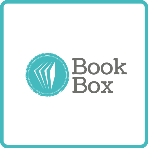 "White background with teal outline square. Teal text inside says ""Book Box"""